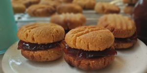 Chewy Peanut Butter and Jam Biscuits