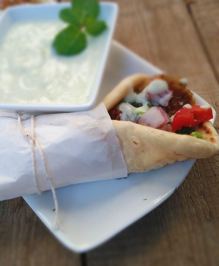 Falafel with Tzatziki in Homemade Greek Pita Flatbreads