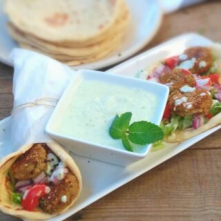 Falafel with Tzatziki in Homemade Greek Pita Flatbreads