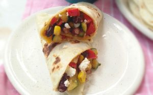 Pan fried vegetables and Blackbean wraps
