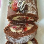 Marscapone and Strawberry filled Chocolate Swiss Roll
