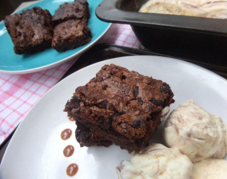 Warm Fudgey Brownies with Chocolate Swirl Ice Cream