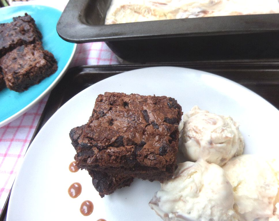 Warm Fudgey Brownies with Chocolate Swirl Ice Cream