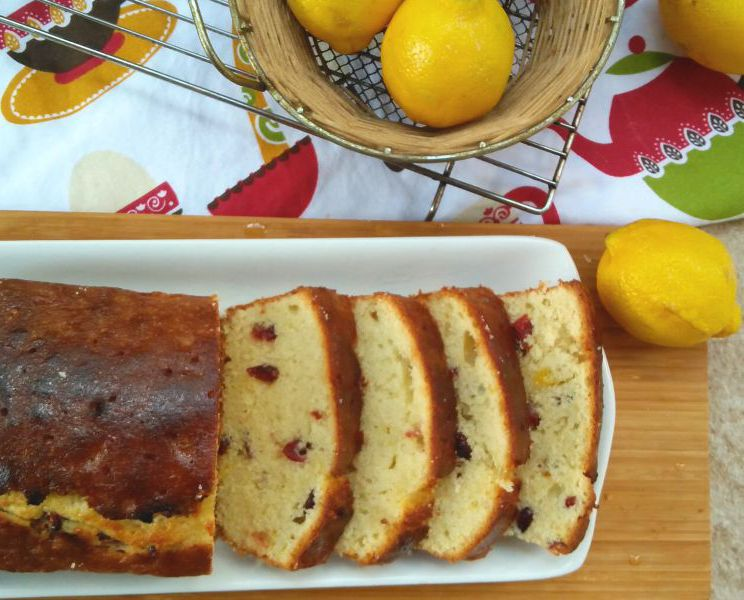Lemon Cranberry Glazed Loaf