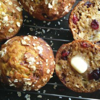 Banana Cranberry Oat Muffins