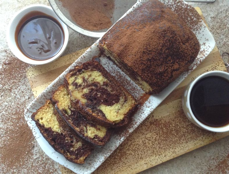 Marbled Vanilla Chocolate Coffee Cake