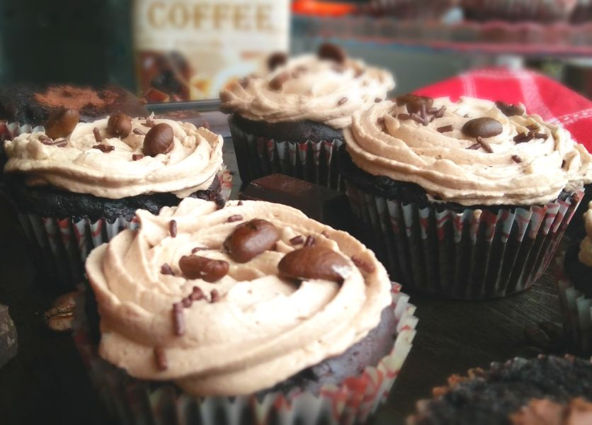 Coffee Cupcakes with Chocolate Ganache Filling