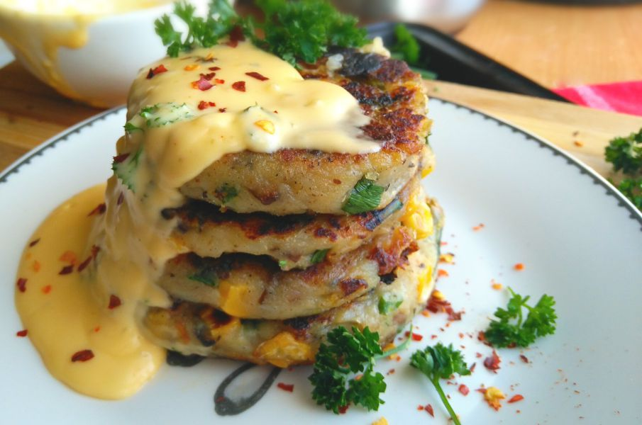 Spicy Potato Cakes with Creamy Cheese Sauce