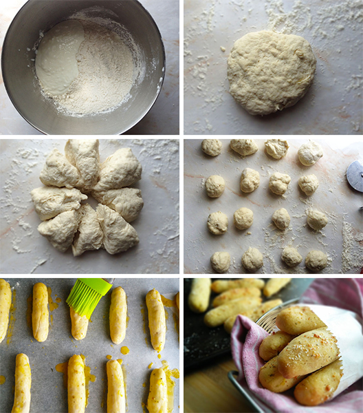 How to make 3 ingredient  Garlic Breadsticks  While the full printable recipe is written below, this is the process with step-by-step pictures to guide you.