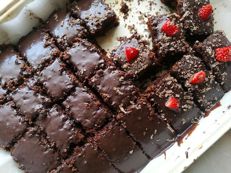 Condensed Milk Chocolate Sheet Cake - The Gardening Foodie