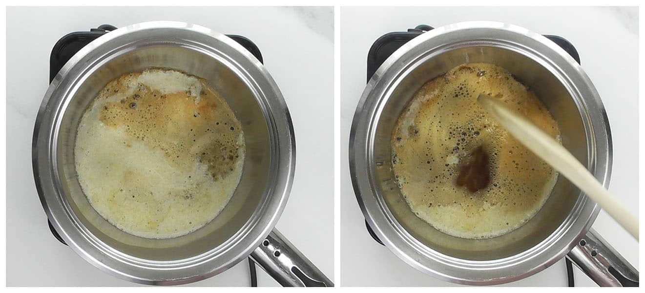 If you want to make ghee, then continue to simmer on low heat for another 2 minutes and just until the foam changes to a light brown colour (ghee stage). Lightly part the foam with a spoon and you will notice the melted butter is a clear darker brown. Little bits of milk solids will sink to the bottom of the pot and caramelize