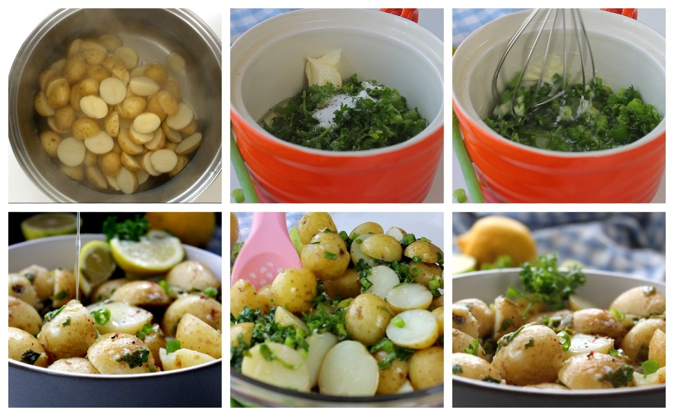 How to Make No Mayo Potato Salad While the video and the full printable recipe are written below, this is the process with step-by-step pictures to guide you.