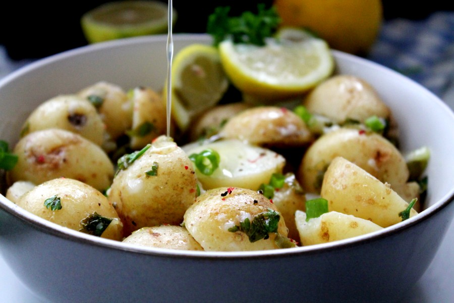 A twist on the classic recipe, this No Mayo Potato Salad is light, tangy, and packed with incredible flavor. It's a great side dish to any meal and ideal to make in advance. The longer the potatoes absorb the dressing, the more flavorsome it becomes.