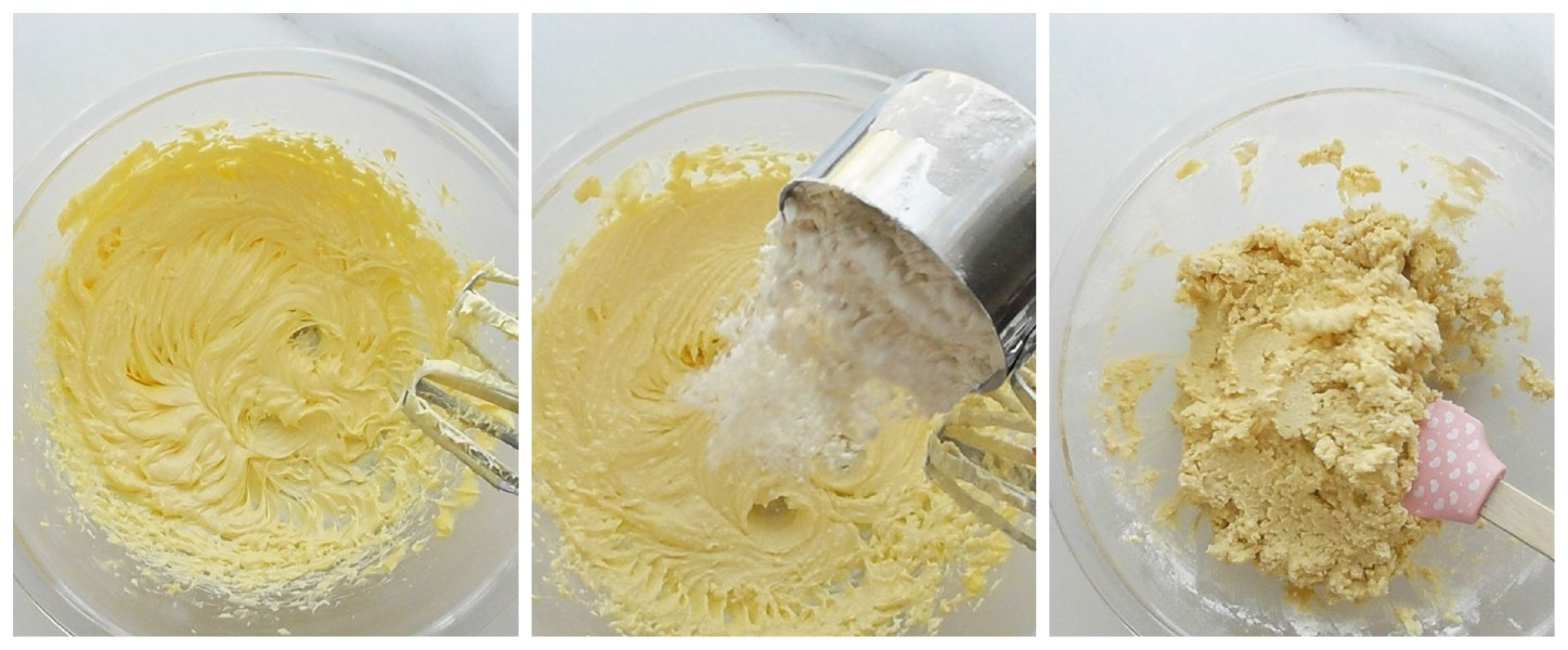 Make the dough Beat the butter and sugar for about 3 to 5 minutes until pale, light, and fluffy. Sift the flour into the beaten butter mixture and mix gently to combine forming a soft dough.