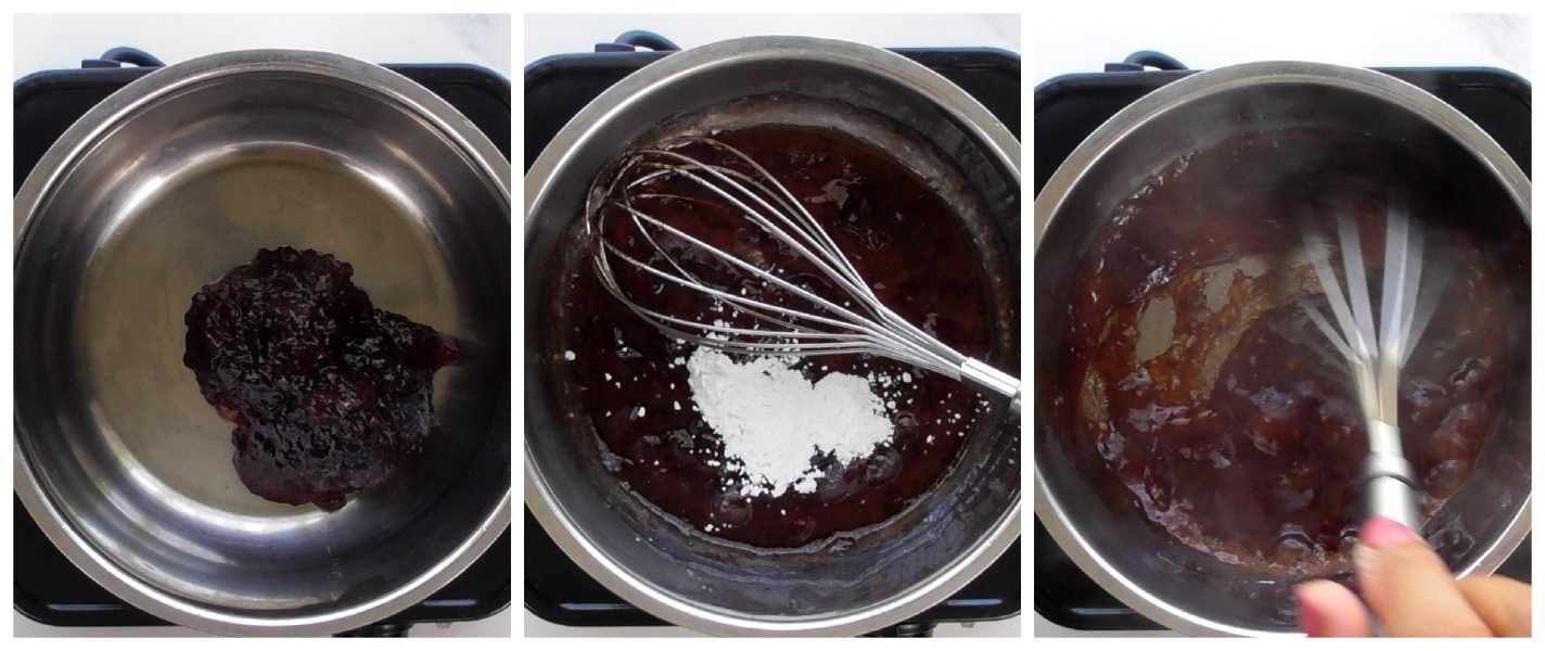 To reduce and thicken the jam: Heat the jam in a small pot on medium heat for 1 minute. As the jam warms, it becomes weaker and more liquid. Add the cornflour directly into the heated jam and whisk continuously for 4 minutes until thickened. Allow the heated and reduced jam to cool before piping it into the baked cookies. If it is not cooled before using, the warm jam will cause the piped buttercream to melt.