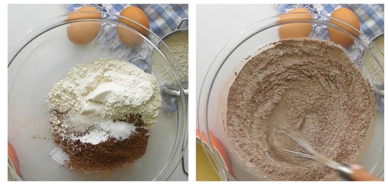 Sift the flour, cocoa powder, baking powder, baking soda, and salt into a bowl.