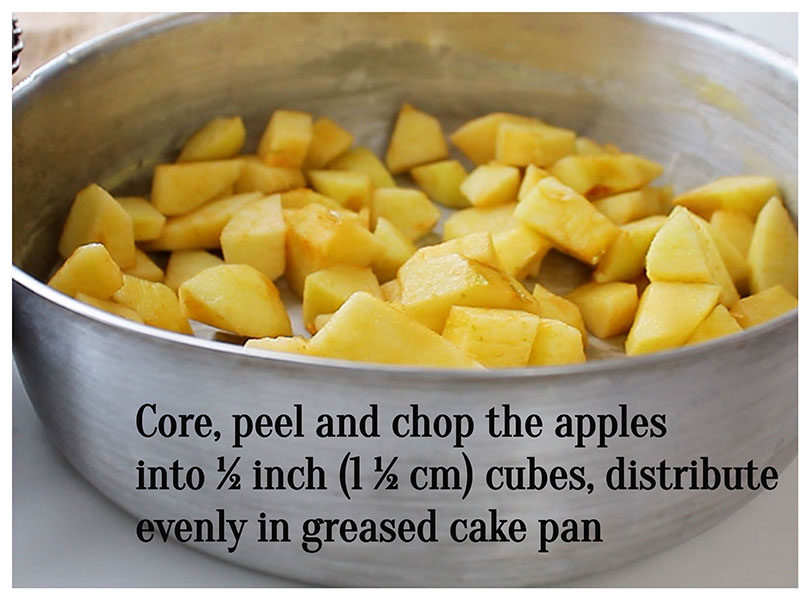 Peel and chop apples: Core, peel and chop the apples into ½ inch (1 ½ cm) cubes