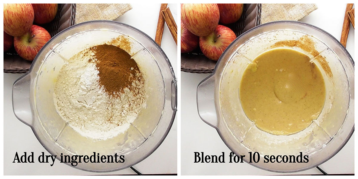 Add in the dry ingredients: Unplug your blender and add in the sugar, flour, baking powder, salt and cinnamon powder. Plug the blender back in and blend again for another 5-10 seconds.